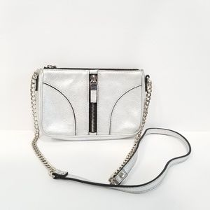 Milly Crossbody Bag Metallic Silver Chain Accents